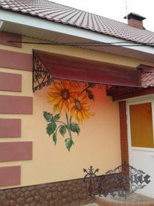 Односкатный кованый козырек с листом поликарбоната